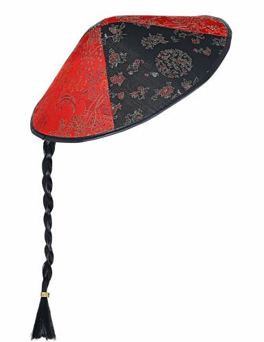 Chapeau chinois avec tresse noire-2