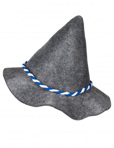 Chapeau bavarois adulte avec cordelette bleue et blanche