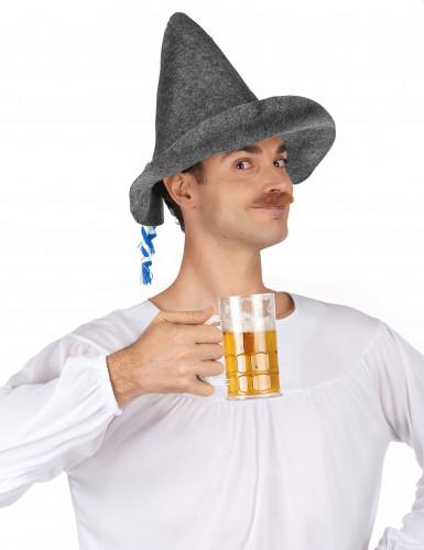 Chapeau bavarois adulte avec cordelette bleue et blanche-1