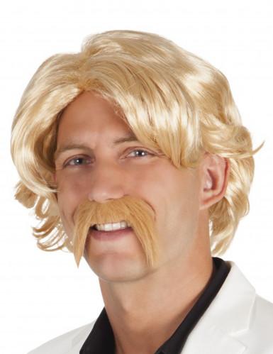 Perruque blonde avec moustache homme