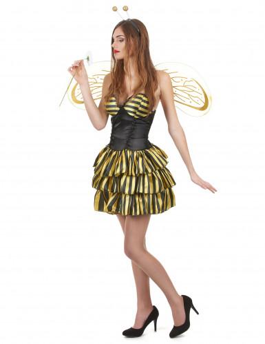 Déguisement abeille femme noir et or-1