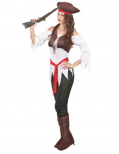 Déguisement pirate marron et blanc femme-1
