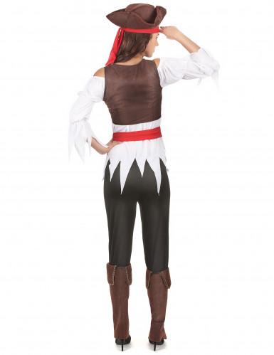 Déguisement pirate marron et blanc femme-2