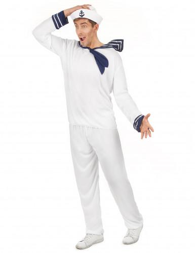 Déguisement marin blanc homme-1
