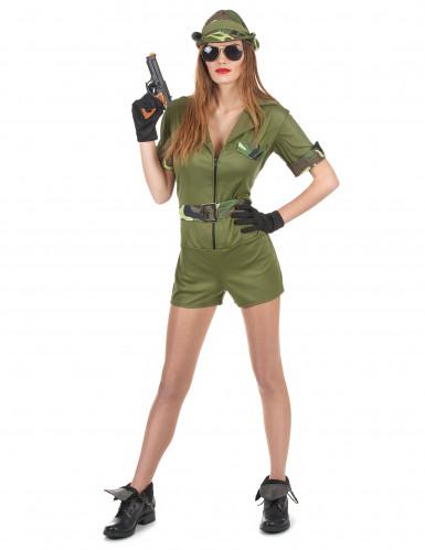 Déguisement militaire kaki femme