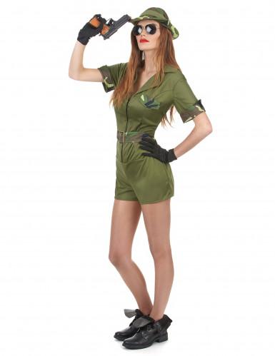 Déguisement militaire kaki femme-1
