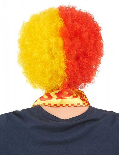 Perruque supporter Espagne adulte rouge et jaune-1