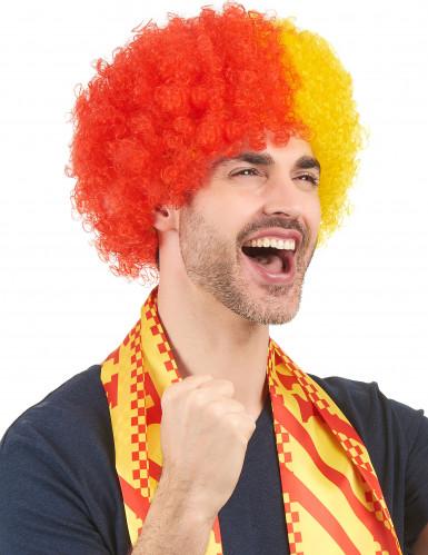 Perruque supporter Espagne adulte rouge et jaune