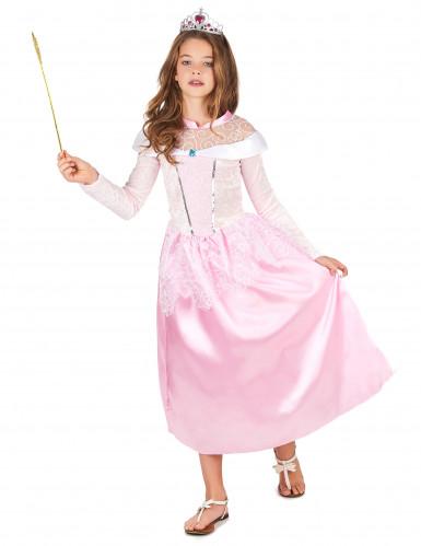 Déguisement princesse rose avec diadème fille