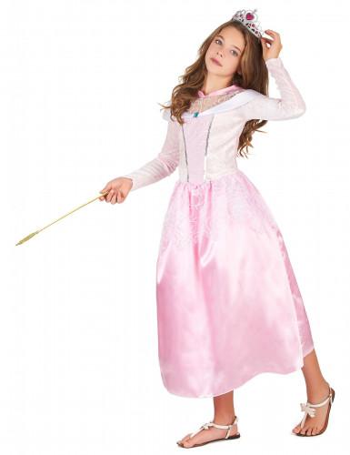 Déguisement princesse rose avec diadème fille-1