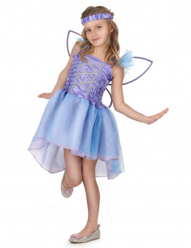 Déguisement fée violette voile bleu fille-1
