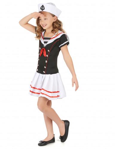 Déguisement marin noir et blanc fille-1