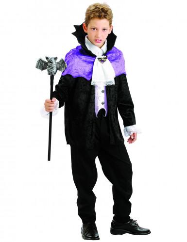 Déguisement vampire noir et violet garçon