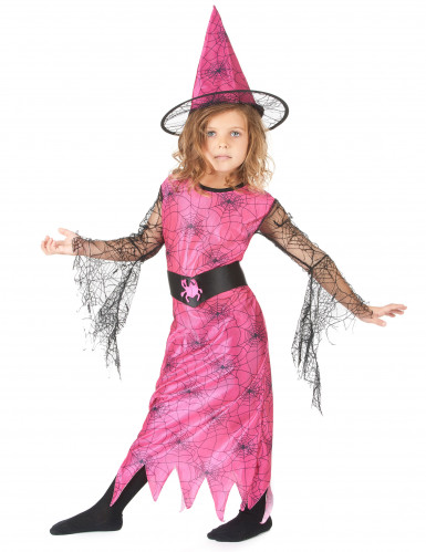Déguisement sorcière araignée rose fille-1