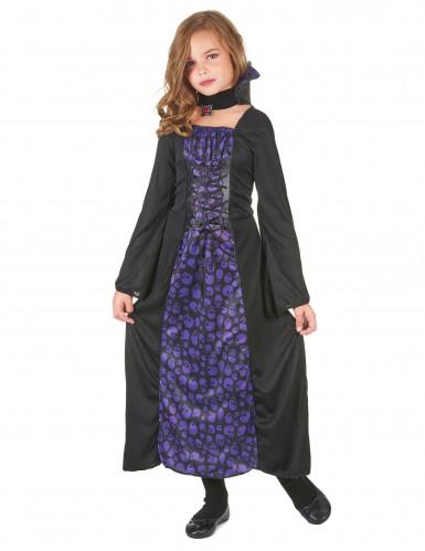 Déguisement vampire violet et noir fille
