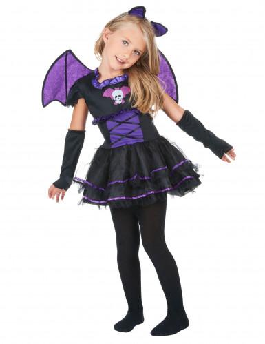 Déguisement chauve-souris noire et violette fille
