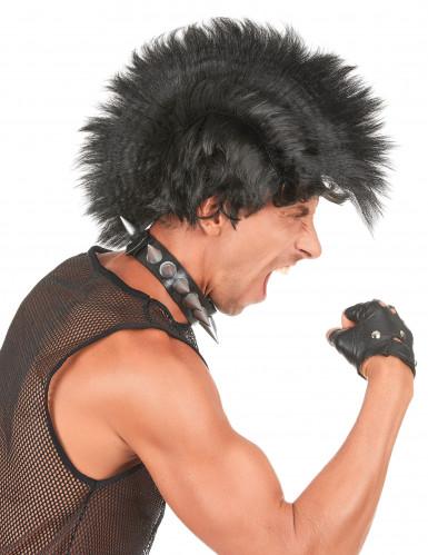 Perruque punk à crête noire homme