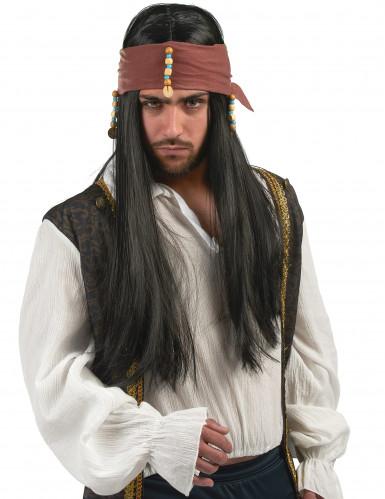 Perruque noire pirate adulte