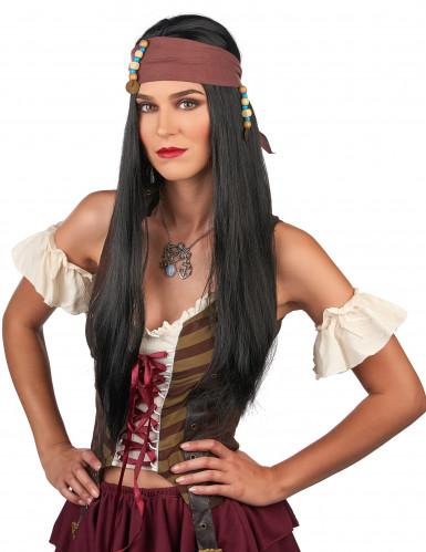 Perruque noire pirate adulte-1