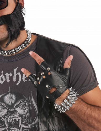 Bracelet large punk argenté adulte-1