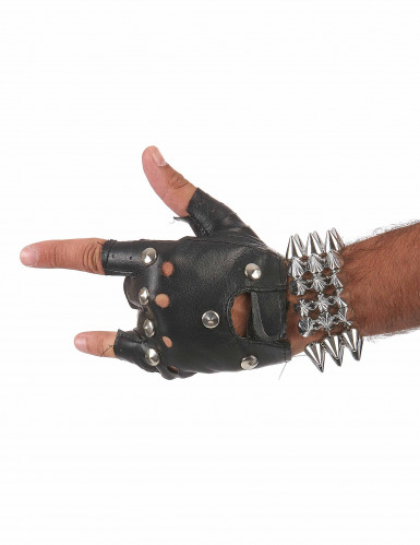 Bracelet large punk argenté adulte-2