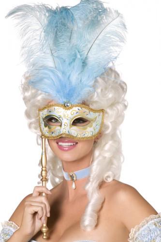 Oferta: Antifaz veneciano azul y dorado con plumas adulto