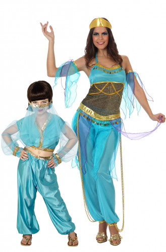 Déguisement de couple danseuses orientales bleues mère et fille