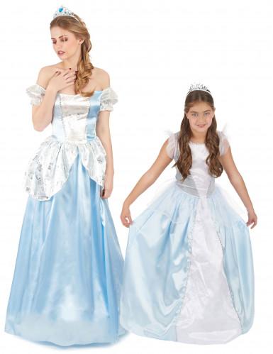Déguisement de couple princesse bleue mère et fille