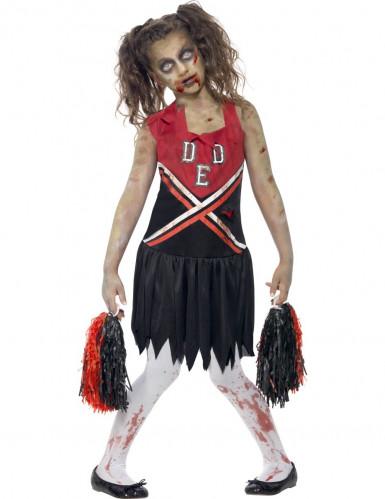 Déguisement zombie pompom girl noir et rouge fille
