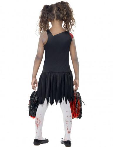 Déguisement zombie pompom girl noir et rouge fille -2