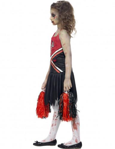 Déguisement zombie pompom girl noir et rouge fille -1