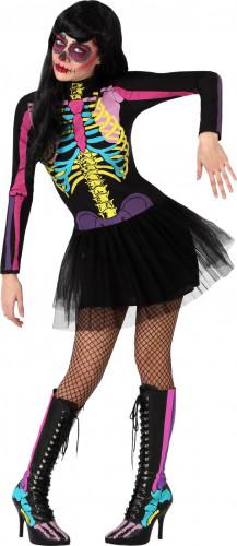 Déguisement squelette coloré tutu femme