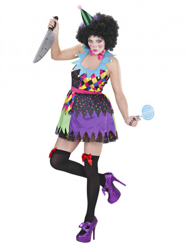 Déguisement clown terrifiant multicolore femme Halloween