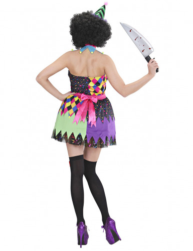 Déguisement clown terrifiant multicolore femme Halloween-1