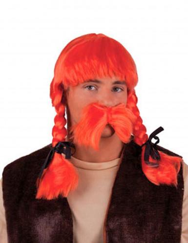 Perruque orange gaulois adulte