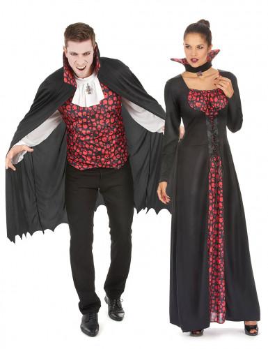 Déguisement de couple vampire crâne noir et rouge