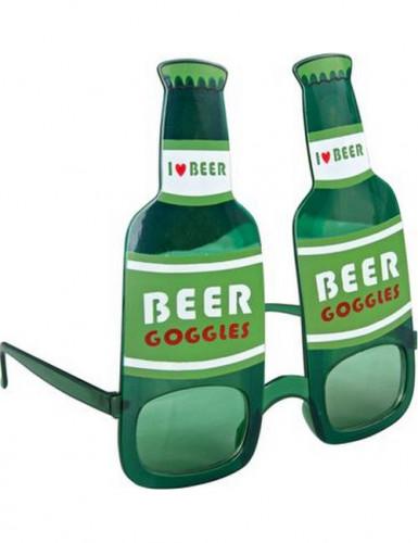 Lunettes bouteille de bière vertes adulte