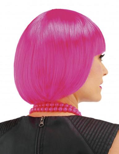 Perruque courte cabaret rose fille-1