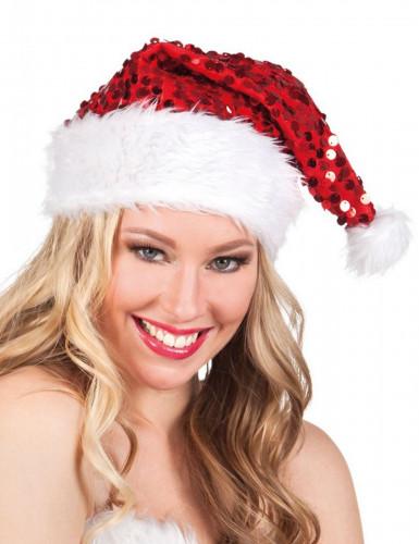 Bonnet rouge à sequins adulte Noël