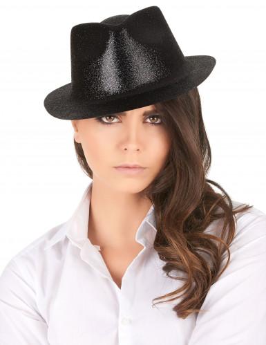 Chapeau pailleté noir adulte-1