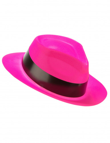 Chapeau gangster rose fluo adulte