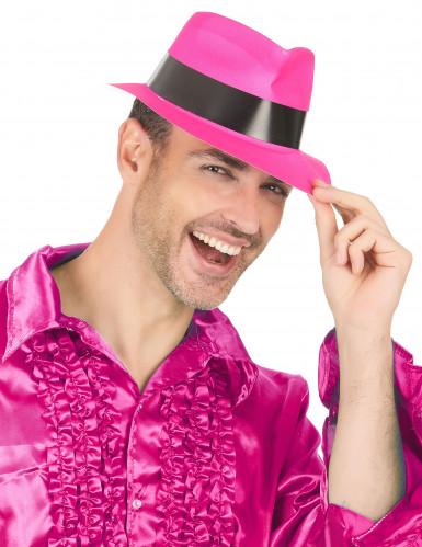 Chapeau gangster rose fluo adulte-2