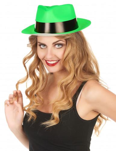 Chapeau gangster vert fluo adulte-1