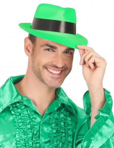 Chapeau gangster vert fluo adulte-2