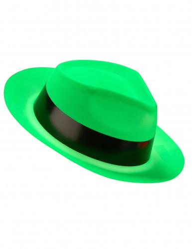 Chapeau gangster vert fluo adulte