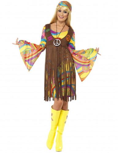 Déguisement hippie fleurs année 70 femme