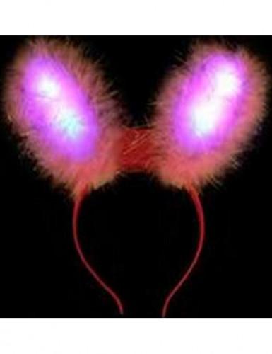 Oreilles de lapin roses LED