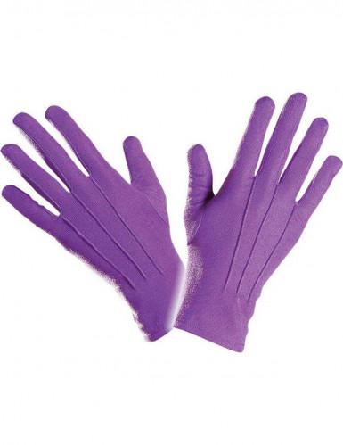 Gants courts violets adulte-1