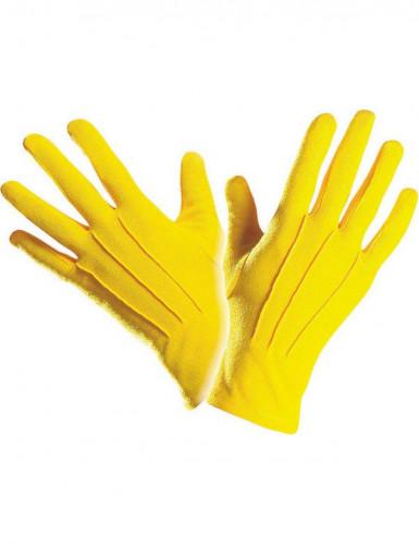 Gants courts jaunes adulte-1
