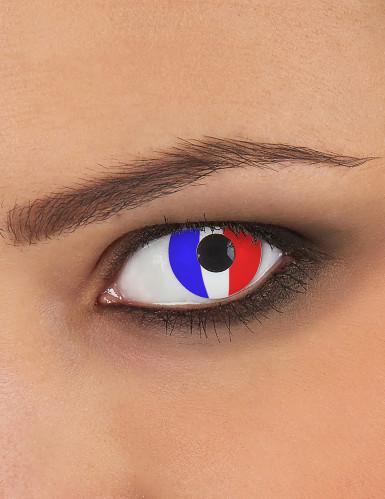 Lentilles fantaisie drapeau France adulte